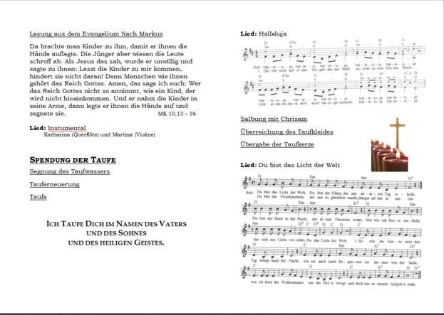 Hallelujah Taufe Deutsch Text